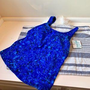 NWT women's swim tankini blue black top